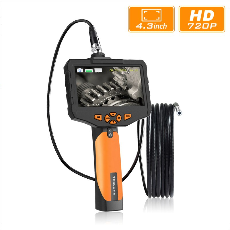 "4.3"" LCD Digital HD Snake Camera 7.6MM Drain Pipe Inspection Endoscope Camera Borescope Wire Probe Waterproof Camera 3M/5M Cable"
