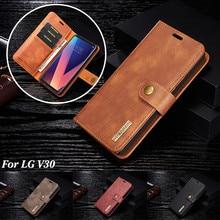 DG.MING Luxury Leather Wallet Case for LG V30 V20 G6 Detachable Magnetic Flip Card Slot Cover for iPhone 6 6s 7 8 Plus X 5 5s SE
