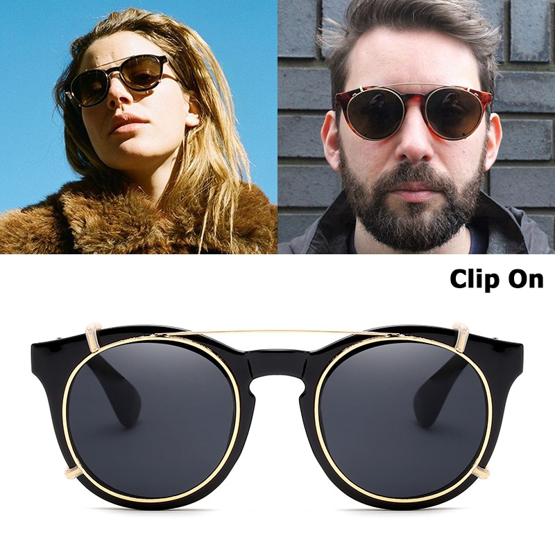 JackJad 2019 New Fashion Clip On SteamPunk Style Round Sunglasses Lens Removable Brand Design Vintage Sun Glasses Oculos De Sol