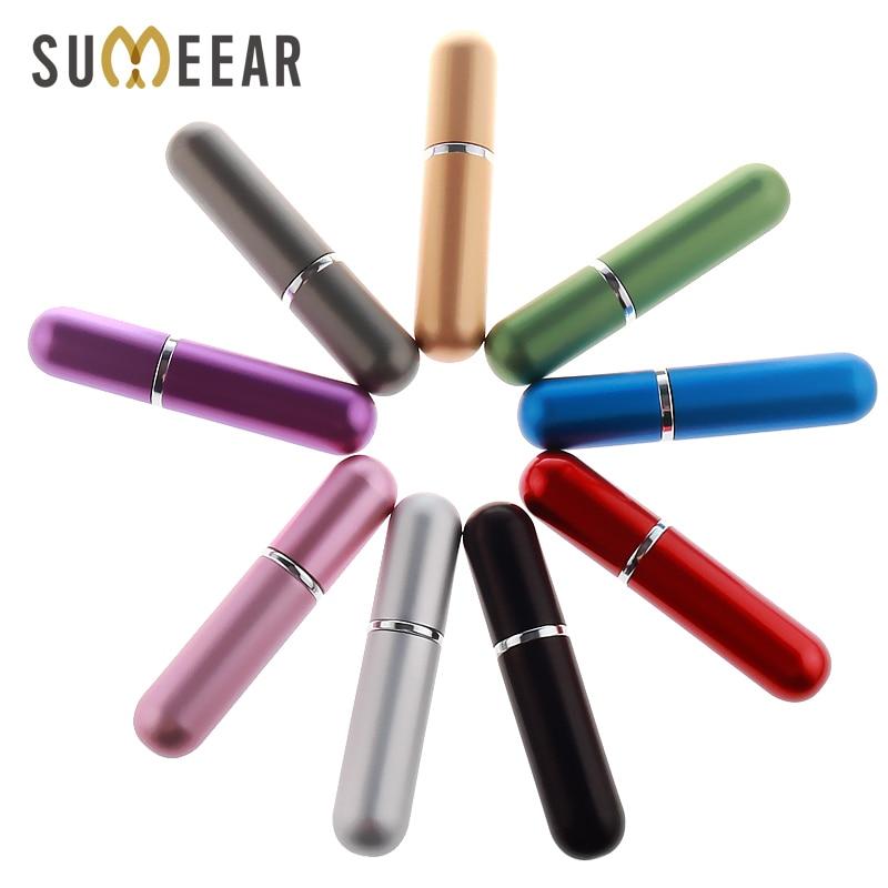 Botellas atomizadoras portátiles de 5ml y Mini botella de Perfume, atomizador de vidrio vacío para mujer, botella rellenable, envases cosméticos vacíos de bolsillo