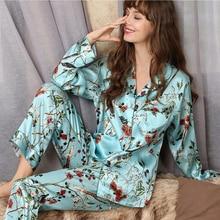 Véritable soie pyjama ensembles femme mode imprimé 100% soie ver à soie à manches longues deux pièces soie vêtements de nuit femme mince été T8166