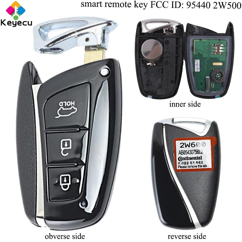 KEYECU Replacement New Smart Remote Key - 3 Buttons & 433MHz & ID46 Chip- FOB for Hyundai Santa Fe 2012-2015 FCC ID: 95440 2W500