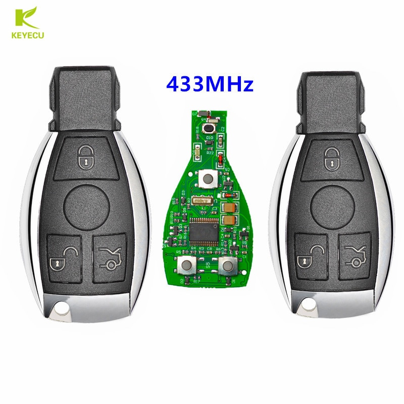 KEYECU 2 uds repuesto nuevo mando a distancia Fob 3 botones 433MHz para Mercedes Benz NEC, BGA, BE W202 W203 W204 W210 W220