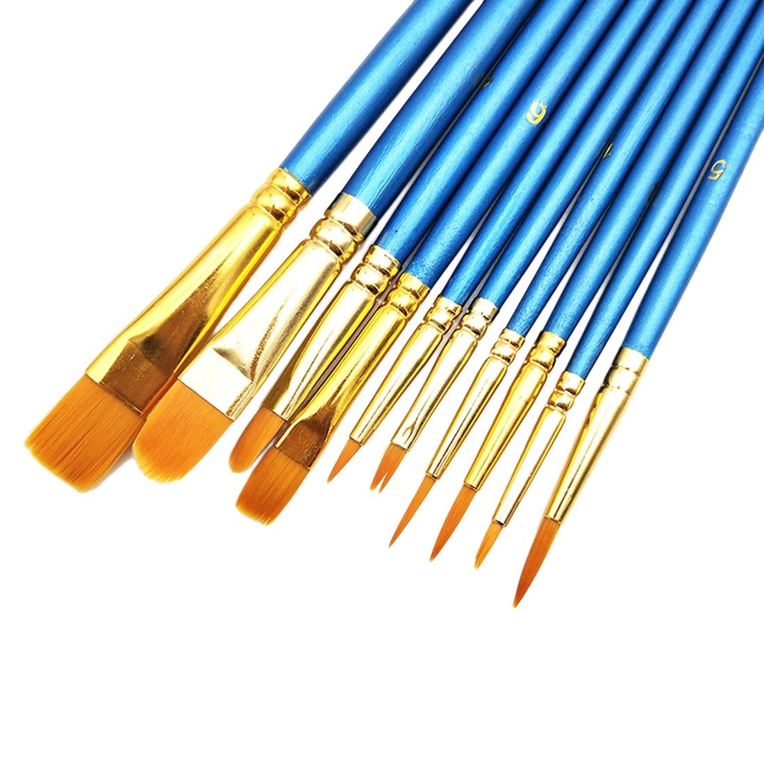 10 unids/set Nylon pincel para óleo alrededor de la pintura cepillo para acuarela aceite acrílico cepillo pluma pincel de mango de madera dibujo arte suministros