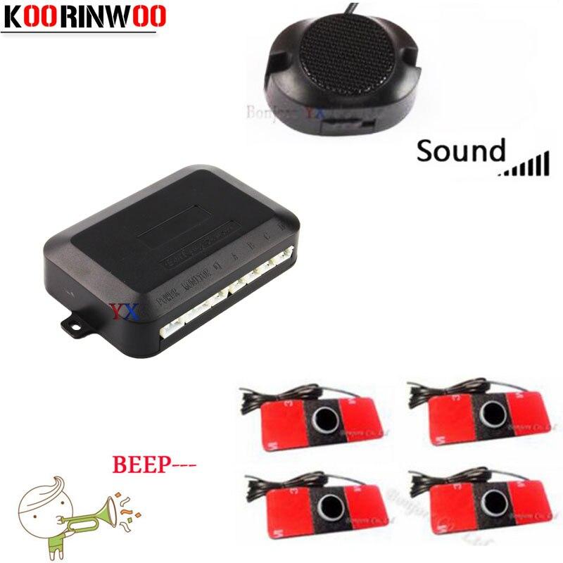 Koorinwoo комплект автомобильных датчиков парковки обратный резервный радар Регулируемый динамик оповещение зонд Система 4 датчика зуммер 16,5 мм Индикатор