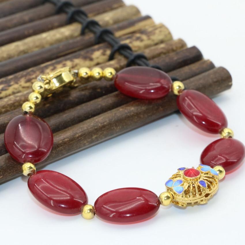 Pulsera Original diy 3 estilo natural lapislázuli piedra calcedonia roja jades 13*18mm cuentas ovaladas joyería de cloisonne 7,5 pulgadas B2726