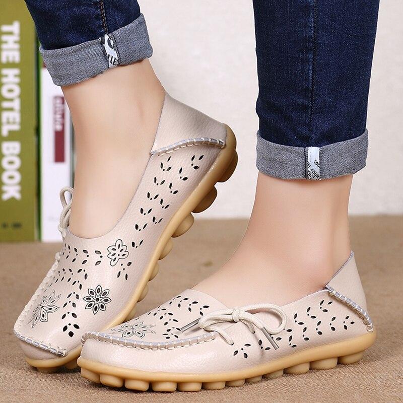 Zapatos planos de cuero genuino para mujer, mocasines deslizantes para mujer, zapatos suaves de enfermera bailarina, zapatos de talla grande 34-44 Casual zapato femenino