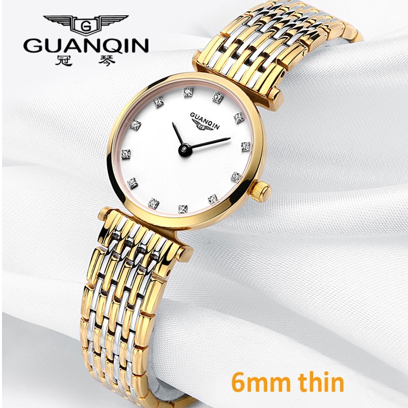 GUANQIN Women Watches Luxury Top Brand Watch Casual Fashion Ultra thin 6mm design Gold Silver Steel Dress Quartz Girl Watches arabic numbers dial design women s fashion watch stainless steel ultra thin silver women quartz watches bgg brand horloge saat