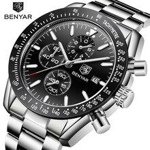 2018 uhr Männer Luxus Marke BENYAR Herren Blau Uhren Silikon Band Handgelenk Uhren herren Chronograph Uhr Männlich Relogio Masculino