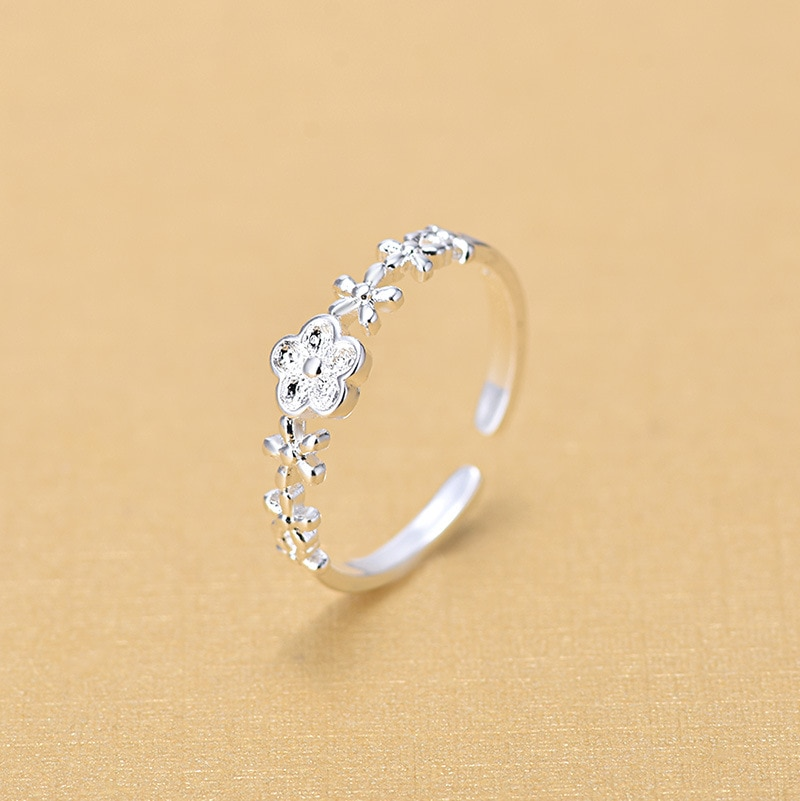 New Arrivals Retro 925 Sterling Silver Open Flower Rings for Women Ring Fashion Jewelry