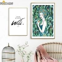 Affiches et imprimes de fille de fleur naturelle verte nordique  toile  peinture artistique  images murales pour decoration de maison