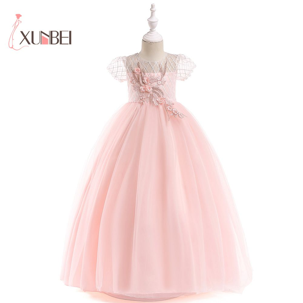 new arrival princess short sleeves lace flower girl dresses 2019 pink appliqued ball gowns for girls first communion dresses New Arrival Princess Short Sleeves Lace Flower Girl Dresses 2019 Pink Appliqued Ball Gowns For Girls First Communion Dresses