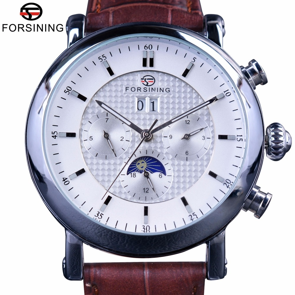 Reloj Automático de lujo Forsining a la moda Tourbillion diseño esfera blanca fase lunar calendario pantalla para hombre