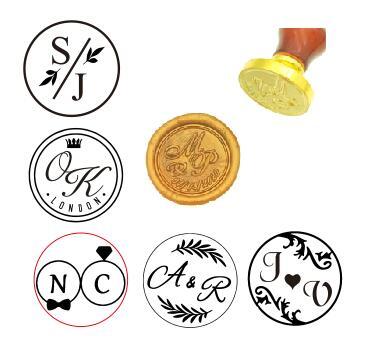 Sello de cera personalizado con dos iniciales, Kit de sello de cera personalizado, sellos de invitación de boda, regalo de boda, sello de cera de madera personalizado
