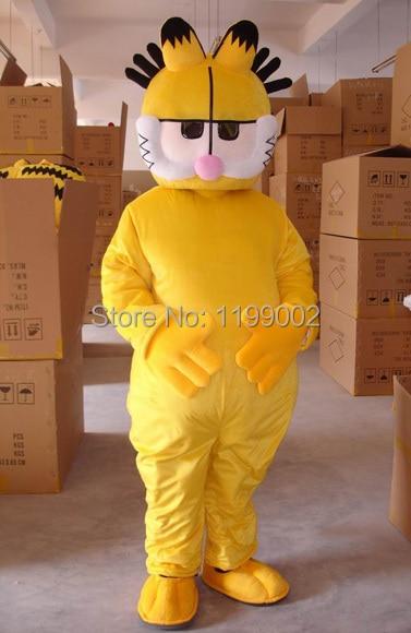 Gran oferta, adorable disfraz de mascota Garfield amarillo de dibujos animados, miniventilador opcional para Halloween, envío gratis