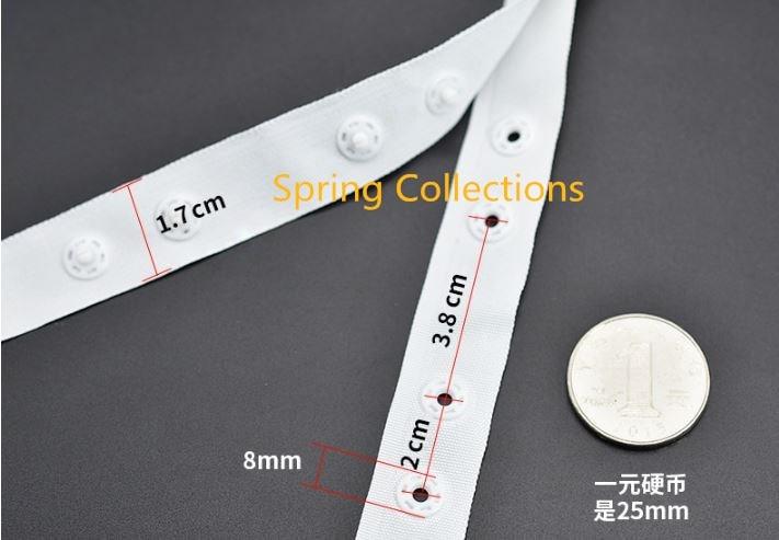 2 m/lote 1,7*2*3,8 cm botón Dia.8mm negro/blanco de plástico botón cinta trim bolsa de accesorios de costura