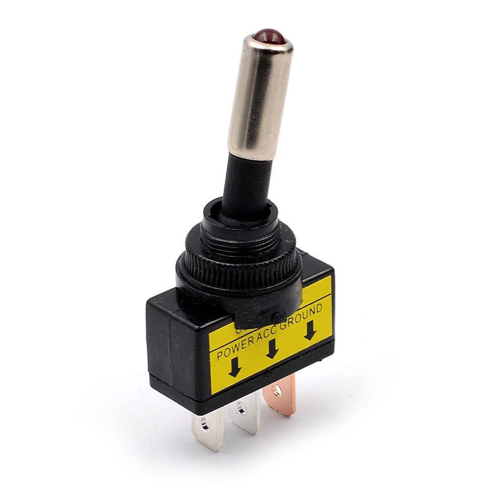 Útil interruptor de palanca de luz LED roja para coche 12V 20A 3 pines HQ ON/OFF HQ