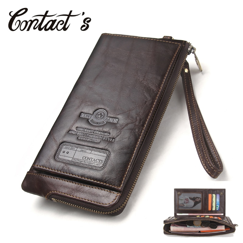 AliExpress - 2021 Men Wallet Clutch Genuine Leather Brand Rfid  Wallet Male Organizer Cell Phone Clutch Bag Long Coin Purse Free Engrave