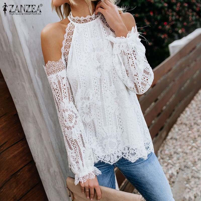 ZANZEA-Blusa de mujer con hombros al descubierto, de moda de otoño, de manga larga, con encaje de ganchillo, informal, sólido, calado, para mujer