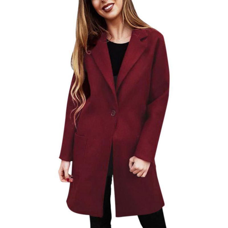Fashion Long Sleeve Slim Jacket Women Elegant Coat Office Lady Pocket Outerwear