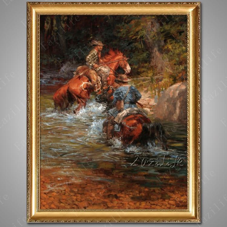 Lienzo pintado a mano pinturas al óleo vaquero occidental pintura al óleo sobre lienzo cuadros de pared para pared de salón arte lienzo caballo 2