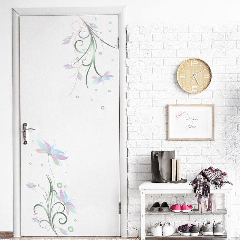 Купить с кэшбэком Elegant flowers white flower Wall Sticker fridge door glass cupboard decorations wallpaper Mural Art refrigerator stickers