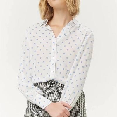 Za primavera actomn mujeres abajo collar polka dot Blusas pulóver Camisa mujer suelta Blusas Blusa de manga