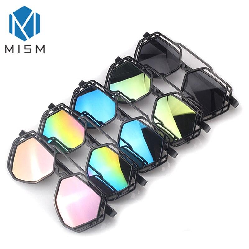 MISM, nuevo diseño, espejo con agujeros, anteojos de sol para dama, gafas para hombres, gafas de Hip Hop Rock, gafas ligeras de plástico para chicas