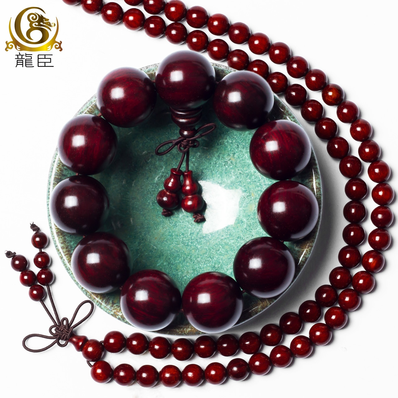 Review high quality authentic India Natural Lobular Red Sandalwood wooden Buddha Beads Bracelets Golden Star Old Material Jewelry