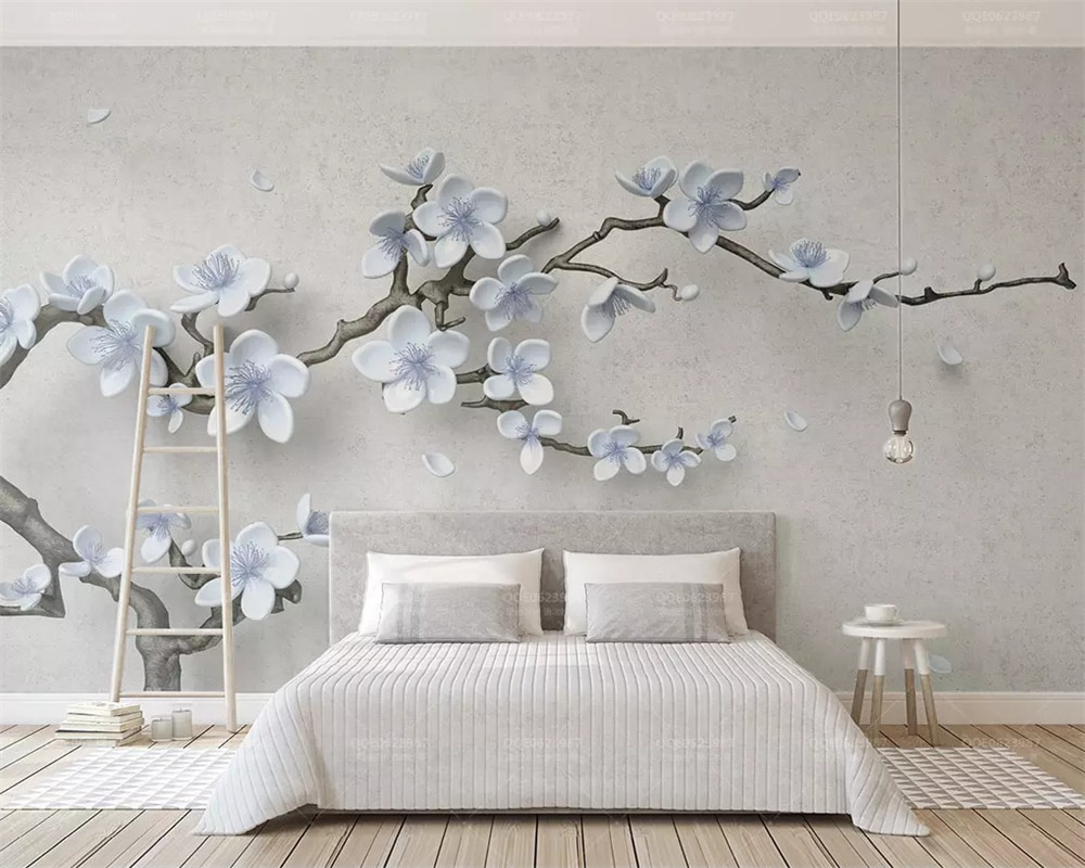 beibehang Customized 2019 new wall papers home decor embossed plum branch 3d three-dimensional Chinese background wallpaper