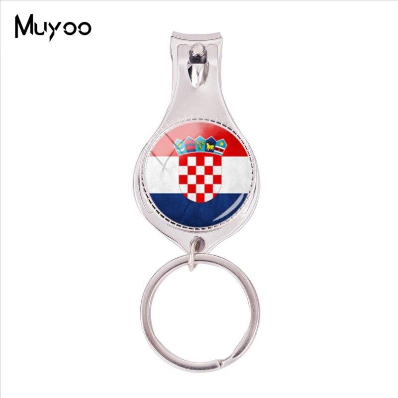 ¡Moda 2018! Llavero multifuncional con bandera de Croacia, foto de cristal, llavero para cortaúñas, joyería artística hecha a mano, cortauñas