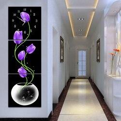 5D Lila Tulpe Diamant Malerei Wanduhr Diy Blume Volle Bohrer Runde Diamant Stickerei Kreuz Stich Uhr Mosaik Wand Dekor