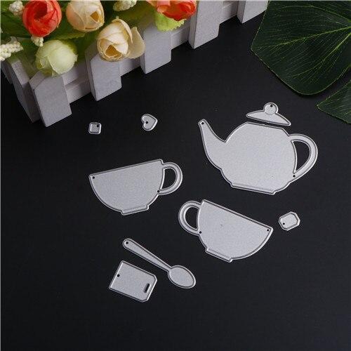 DIY tarjetas de papel tetera taza cuchara vajilla Metal troqueles plantillas para DIY Scrapbooking/álbum de fotos grabado decorativo