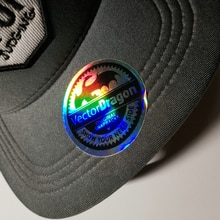 custom  3D rainbow color silver hologram sticker  for snapback cap hat label
