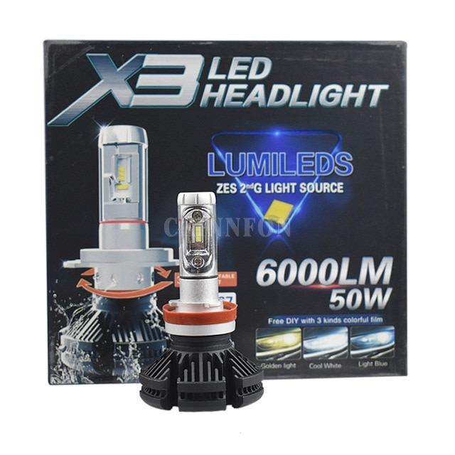 50 unids/lote 25 par X3 bombillas LED de faro delantero de coche H1 H3 H7 H11 Hola/Lo H4 H13 9004 9007 50W 6000LM con ZES Chips para faro Luz de niebla