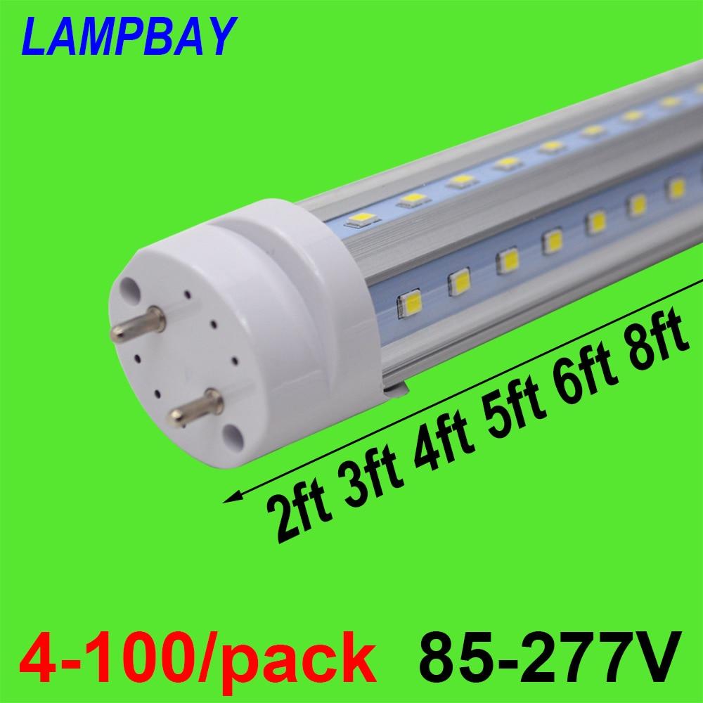 4-100/pack V shaped LED Tube Bulb 270 Angle 2ft 0.6m 3ft 0.9m 4ft 1.2m 5ft 1.5m 6ft 1.8m G13 Fluorescent Light Super Bright Lamp