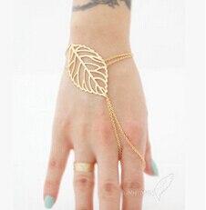Горячая новинка veiny лист указательный палец Slave БРАСЛЕТ, 16k золотая пластина плюс расширение браслеты-листья, Slave БРАСЛЕТ