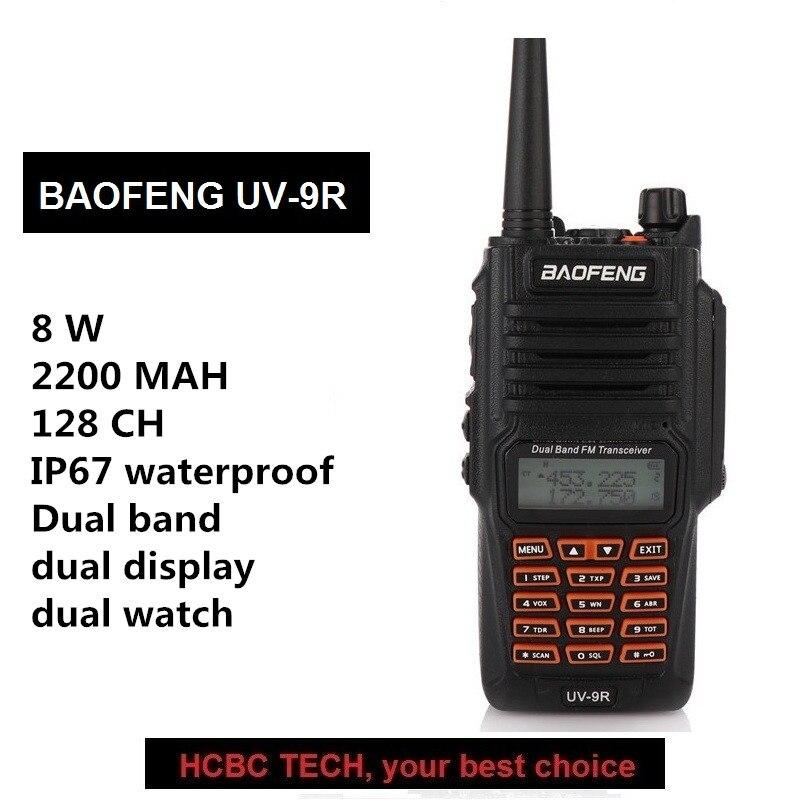 Baofeng UV-9R Walkie Talkie PTT 8W Radio 10KM UHF VHF IP67 Waterproof Transceiver Ham Portable CB Radio Communicator GT-3TP