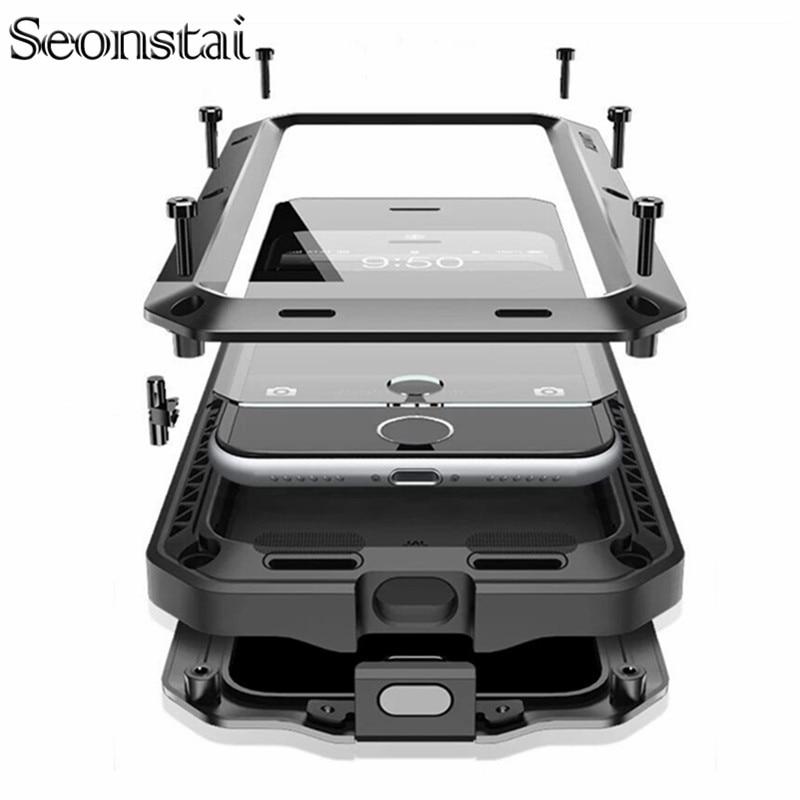 Luxury Doom Armor Metal Aluminum Case for iPhone XS MAX XR X 6 6S 7 8 Plus 5S SE 5 Heavy Duty Full Body Cover Shockproof Fundas