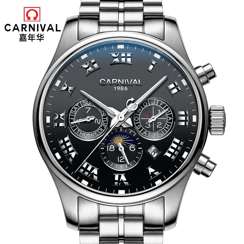 Carnival totalmente automático mecánico masculino reloj de acero completo relogio hombres de lujo famosa marca relojes multifuncional impermeable