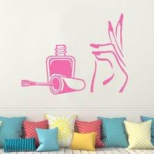 Manicure Wall Decal Vinyl Stickers Girl Hand Nail Polish Spa Beauty Salon Decor Wall Art Stickers Decals Art Mural E667