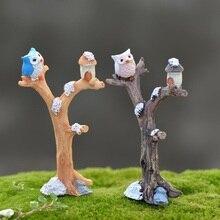 Mini branche darbre en résine chouette   Micro ornement daménagement décoratif, Figurine bonsaï de jardin, maison de poupée, décoration exquise