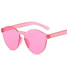 Gafas De Sol sin montura De verano para mujer, gafas De Sol transparentes De diseñador De marca, color bonito, gafas De Sol UV400