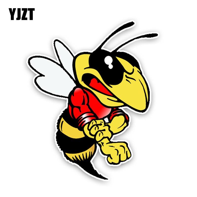 Yjzt 11.7cm14.1cm moda adorável dos desenhos animados hornets colorido pvc carro adesivo gráfico C1-5185
