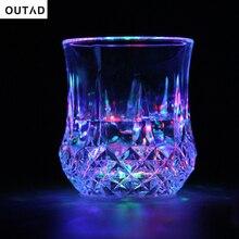 Outad led 깜박이 빛나는 물 액체 활성화 라이트 업 와인 유리 컵 머그잔 빛나는 파티/클럽 컵 새로운 도착 뜨거운