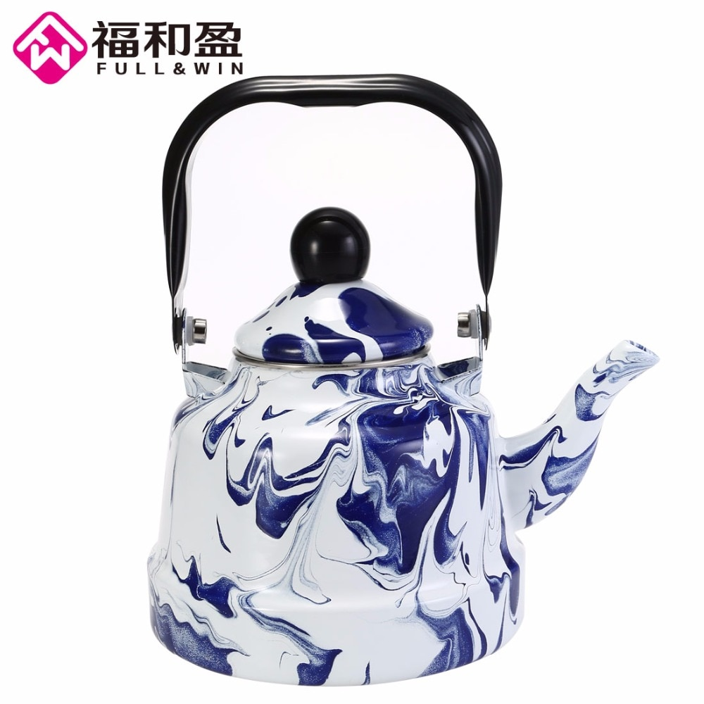 1pcs 1.1L Ice Flower Bell Pot Smooth Kettle Enamel Tea Pot Used On Electromagnetic Stove/Gas Range/Electronic Tube