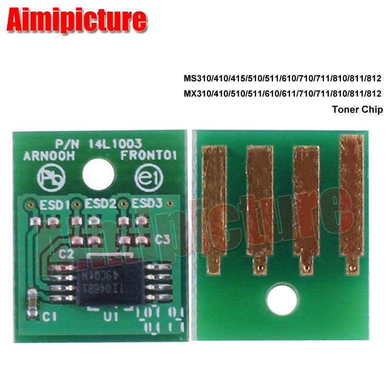2,5 K 60F1000 601 para Lexmark MX511 610 MX611 MX310 MX410 MX510 cartucho de tóner Chip América del Norte Versión Original reescritura 5 piezas