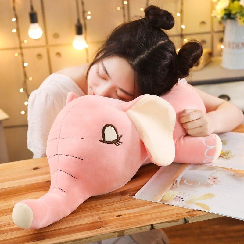 Nueva llegada de Dropshipping almohada de Elefante de felpa suave Elefante de juguete de bebé juguetes de peluche cojín para bebés niños