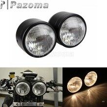 Black Motorcycle Twin Dual Headlight Motorcycle Custom Dominator Streetfighters Project Double Headlamp For Honda Yamaha Suzuki