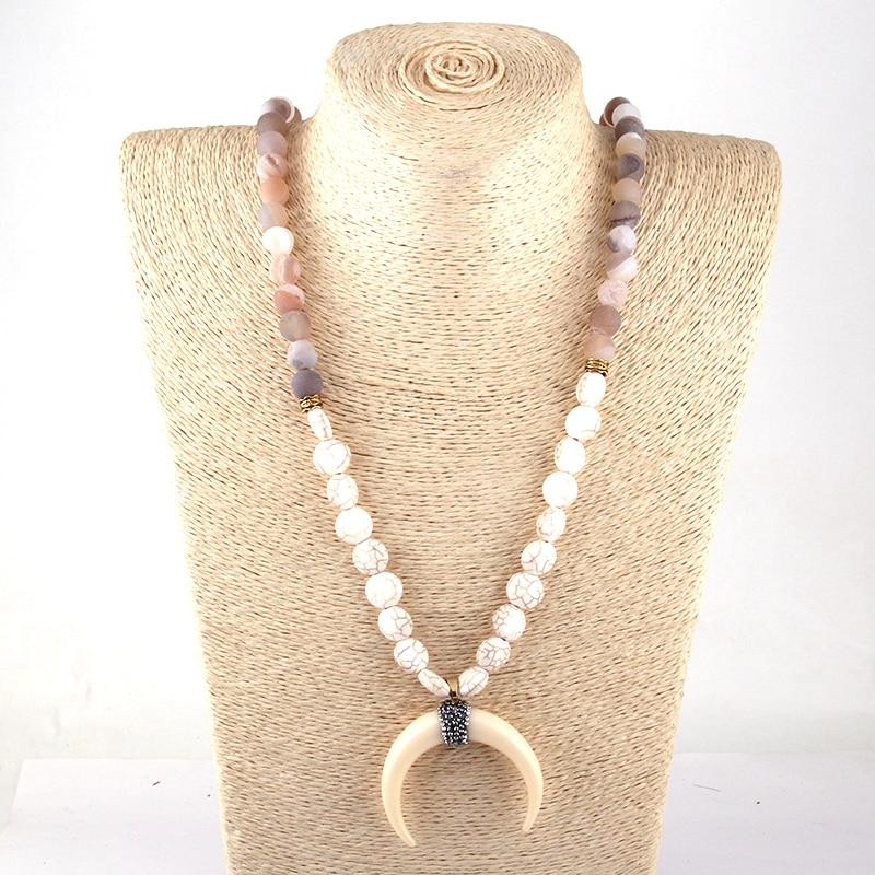 Fashion Bohemian Tribal Artisan Jóias Druzy Branco Liso S Chifre de Boi Colar Lua Para As Mulheres